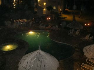 Kapaa condo photo - Pool at night.