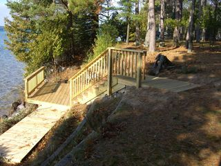 Elk Rapids house photo - New stairs down to deck at waters edge. Great place to watch glorious sunsets.