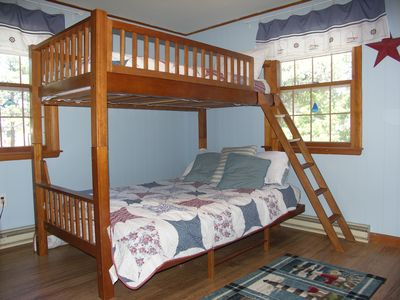 Downstairs bedroom offers twin (not pictured) and twin over full