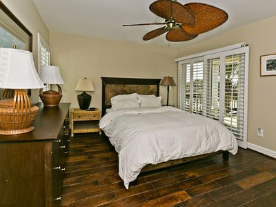 Upstairs queen bedroom with views of ocean and marsh