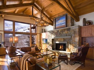 Teton Village lodge rental - Great room with fireplace and vaulted ceiling
