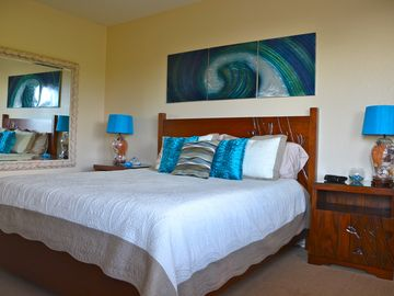 The master bedroom has all new furniture and is decorated in a Wave theme.