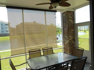 Screened in patio with ceiling fan and sunshade to shade you from the AM sun.