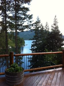 Hayden Lake house rental - View of Hayden Lake from the main floor large deck.