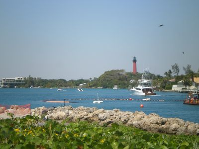 Dubois Park looking over Inlet to the historic Jupiter Lighthouse and Park
