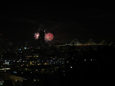 fireworks over bay bridge
