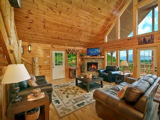 "Pigeon Forge cabin photo - C'mon in to the homey living area with 42"" LCD TV/PremCable and panoramic views"