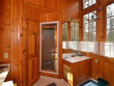 Lake Burton cabin rental - Master Bath with his and her sinks