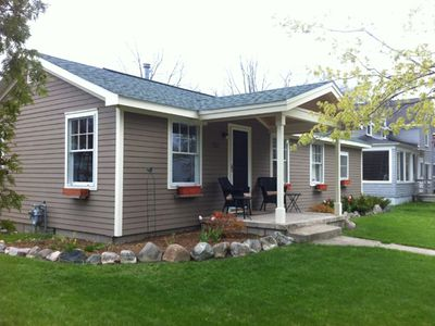 Elk Rapids cottage rental - Enjoy the neighborhood from the comfort of the newly constructed front porch!