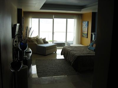 View from Master bedroom with sitting area and Flat Screen TV.