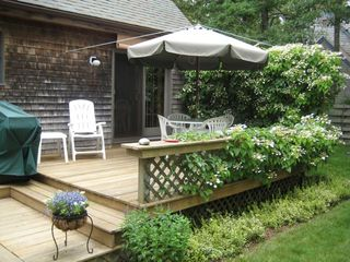 Oak Bluffs house photo - Rear deck w/ family seating, gas grill, & outside shower