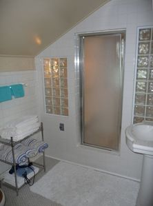 Bathroom with spacious steam shower