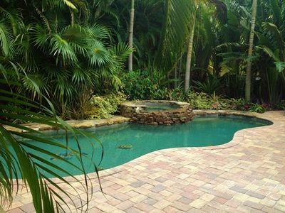 Large pool, spa and beautiful tropical gardens