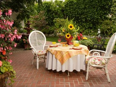 Enjoy a delightful meal for two outside in the garden