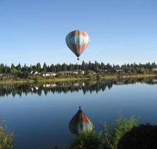Hot Air Baloon over looking from condo at Staats Lake