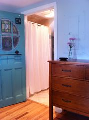 Provincetown cottage photo - Antique door leads to master bath