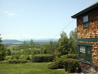 House view looking west across Lake Champlain to the Adirondack Mountains