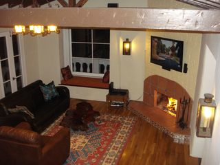 Hollywood house photo - Livingroom and the warm fireplace. 52 inch Sony HD screen