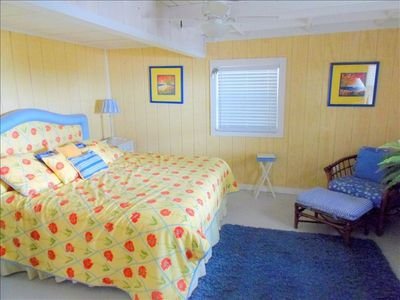 Lower unit King bedroom with flat screen tv overlooking gulf!