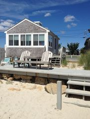 Yarmouth cottage photo - Private deck and sandy beach on Nantucket Sound