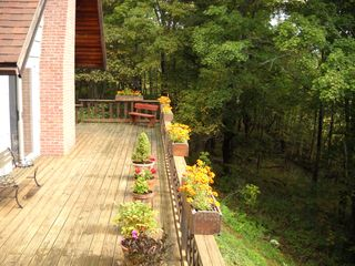 Belleayre Mountain chalet photo - Expansive deck has mountain views and mature forrest to provide lots of privacy.