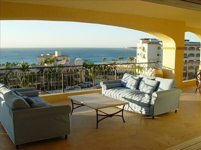 San Jose del Cabo condo rental - Large private shaded balcony overlooking pool and ocean w/ wet bar & gas grill
