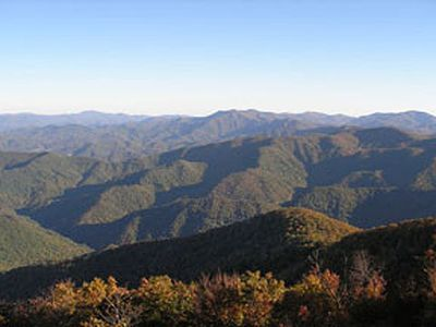 Wayah Bald offers spectacular views of the surrounding mountain ranges.