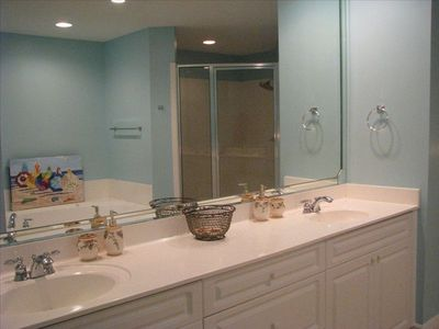 Master bathroom with king size tub and large double headed shower.