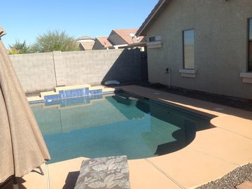 San Tan Valley house rental - Backyard Pool - has self cleaning system, lights and waterfall.