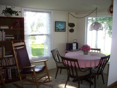 Sodus Bay cottage rental - Corner seating area has 2nd table and lovely lake views.