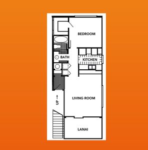 Roomy unit is 755sf including Lanai - layout is mirror image of this floorplan.