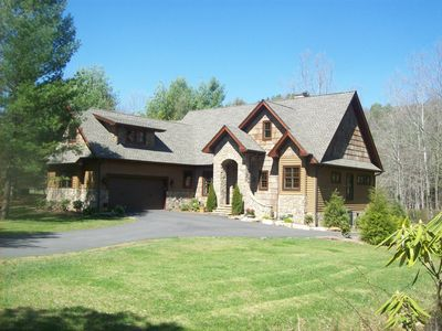 Boone house rental - Rivers Edge Lodge is located on a large level lot directly on the Watauga River