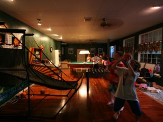 Philadelphia estate photo - Game room w pool table, pinball machine, foosball, bubble hockey, game theater