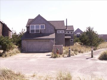 Pacific City house rental - Front View of Beach House, Parking for 3 Autos Beach path to beach and ocean.