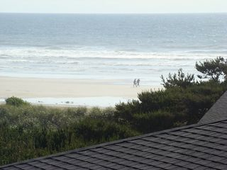 Waldport house photo - Ocean beach view from the deck - 100 yards