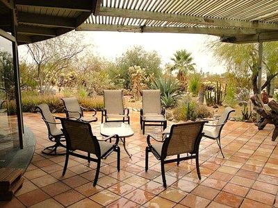 Front Patio with table and chairs and view of desert