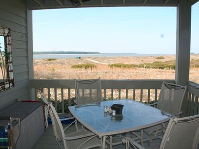 The sliding doors lead to the deck offering some of the best views on Seabrook.