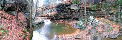 Private Canyon stream borders property w/250'walkway.Natural waterfall swim pool