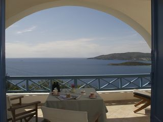 Andros villa photo - Ground floor terrace view