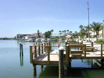 The fishing dock and Salt Rock Grille in the background