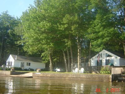Newfound Lake cottage rental - Rental cottage is on the right.