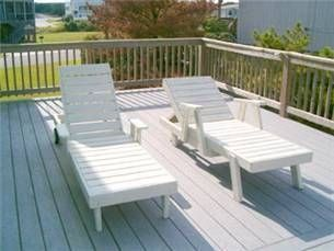 Kitty Hawk house photo - Large open sun deck with chaise loungers, perfect for the sun bathers!