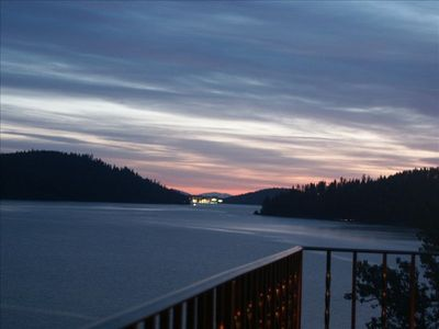 View distant Lights of Coeur d'Alene from veranda