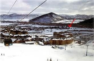 Gondola view looking east. Look for the red arrow, that's our place!
