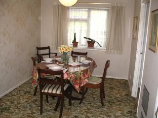Roomy dining area with large table
