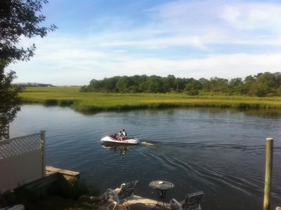 Yarmouth house rental - Dock, kayak or paddleboat on Parkers River with unobstructed ocean access