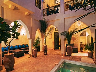 The patio and pool area