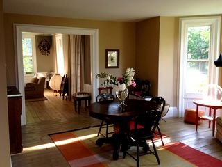 Rhinebeck house photo - Looking from living room/dining room with bay window into fireplace room