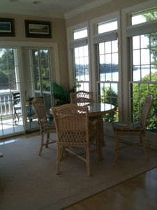 Sun room/eating area, opens to screen porch/deck, w/lake views from all.