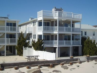 View of location from the beach.  Elevated mid level is the living unit.